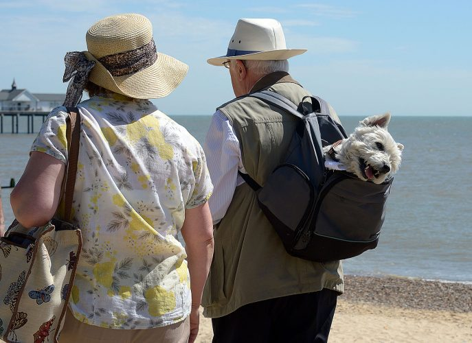 Southwold beach suffolk a couple keep their West Highland Terrier cool