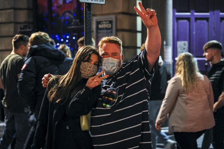 Dated: 02/10/2020Revellers in Newcastle city centre.