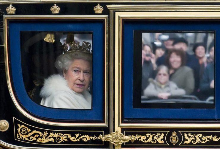 HRH Queen Elizabeth II arriving at Westminster