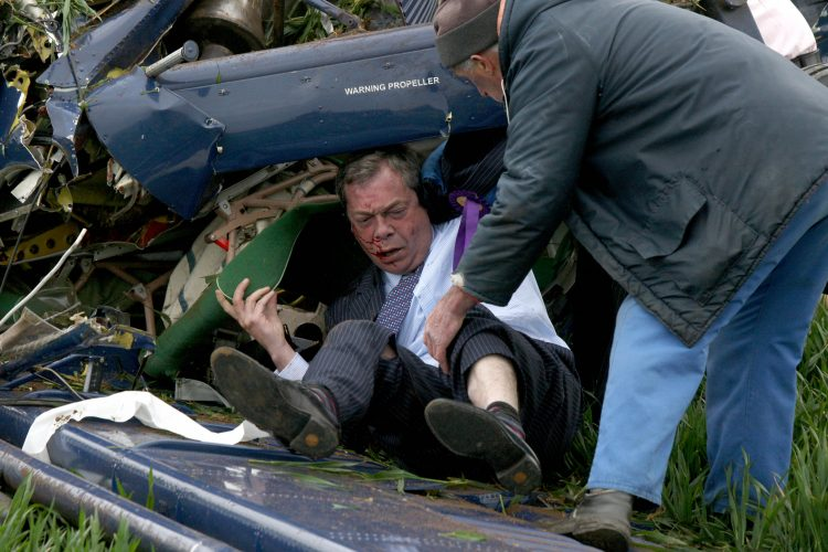UKIP leader Nigel Farage is pulled from the wreckage of a light aircraft after a crash