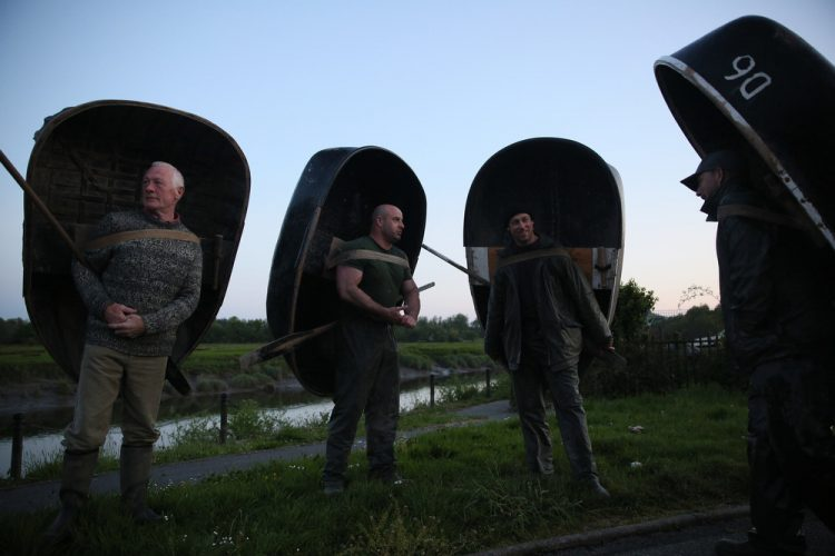 16/05/2016  Fishermen wait  for seven stars to appear with their Coracle fishing boats near the River Towy in Carmarthenshire, west Wales.