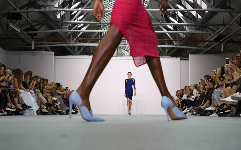A model presents a creation at the Emilio De la Morena catwalk show during London Fashion Week Spring/Summer 2017 in London