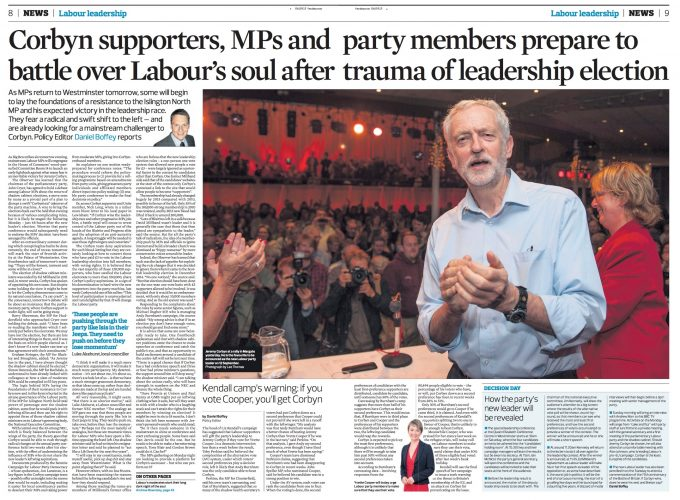 Winter Gardens, Margate, Kent, UK. 5th September, 2015.  Jeremy Corbyn MP attends a rally at the Winter Gardens in Margate for his leadership campaign of the Labour Party.