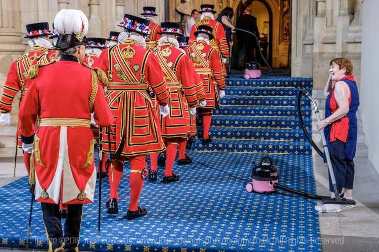 Preparations for the State Opening of Parliament - Yeomen Warders arrive at The Houses of Parliament