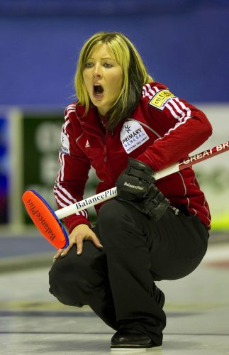 Curler Eve Muirhead in action during the Scottish Ladies Curling Championships.