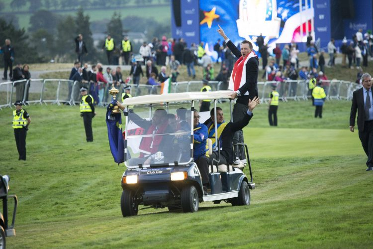 Ian Poulter, Thomas Bjorn, Henrik Stenson and Martin Kaymer celebrate their Ryder Cup victory at Gleneagles.