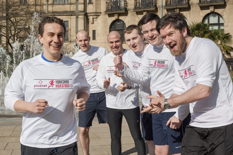Yorkshire Marathon Runners and Plusnet Sheffield employees,  Mark Hopewell, Oli Andrews Julian Walshaw and Louis Woods cheer on first time marathon Runner Richard Grayson as they prepare for the Yorkshire marathon in October 2014  07 March 2014 Image © Paul David Drabble www.pauldaviddrabble.co.uk