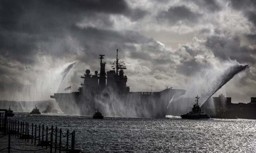 HMS Illustrious returns home. Portsmouth 2014