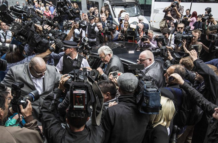 Rolf Harris found guilty. London 2014