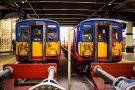 Two Southwestern Commuter Trains At Waterloo Station London