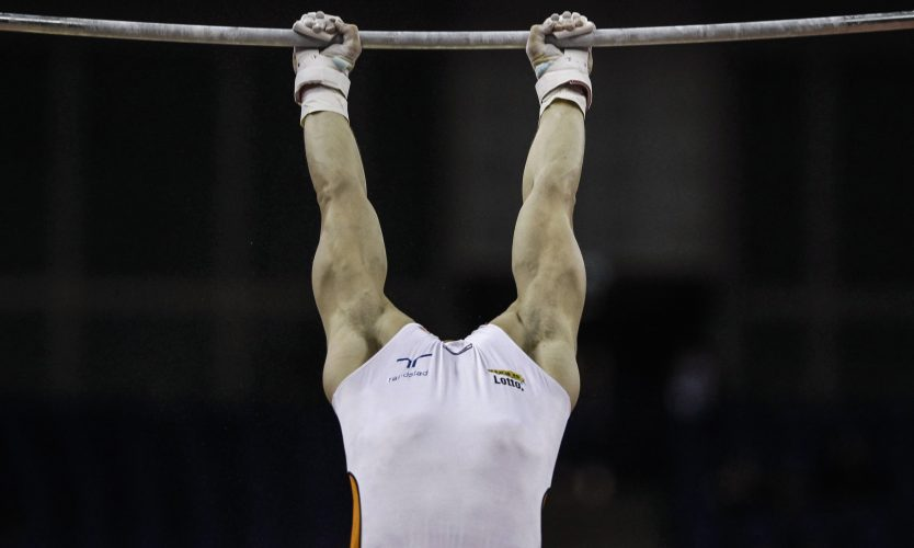 Zonderland of Netherlands performs on horizontal bar in men's artistic qualification round during the International Gymnastics competition in east London