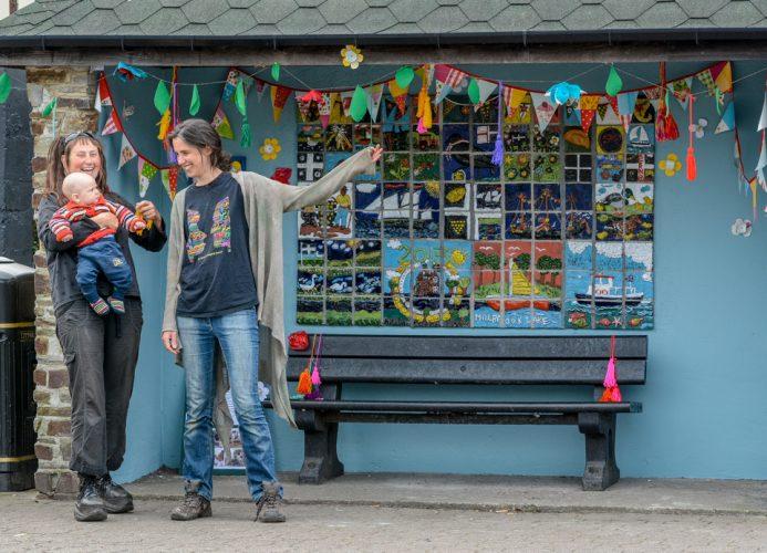 05/05/2014 Potter Sally Turner shows her bus shelter, depicting Millbrook