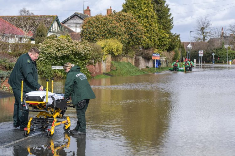 MAN RESCUED ON RAFT IN HEREFORD MAJOR FLOODING