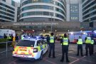 POLICE AND FIRE SURROUND QE HOSPITAL BIRMINGHAM AND CLAP FOR NHS