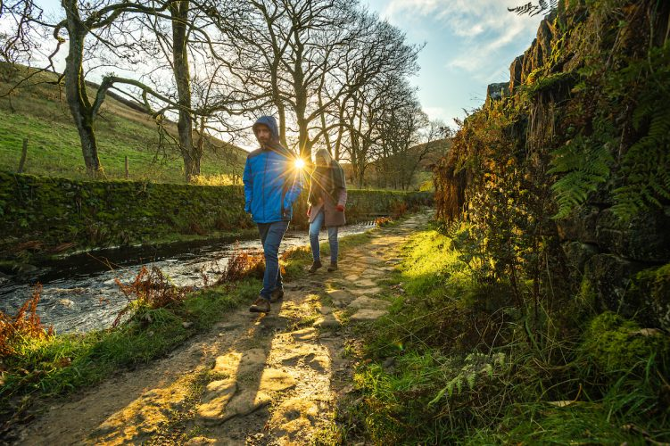 Autumn afternoon walkers in West Yorkshire