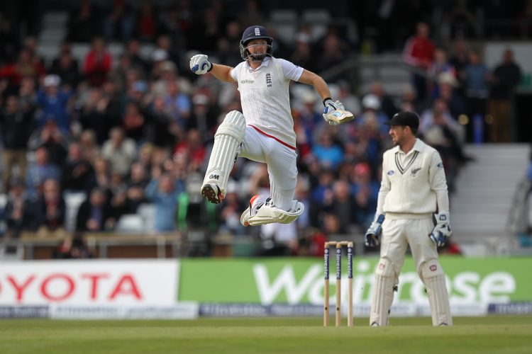Adam Lyth celebrates after scoring a hundred for England against New Zealand at Headingley, Leeds
