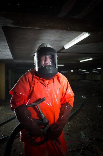 Demolition worker, location portrait.