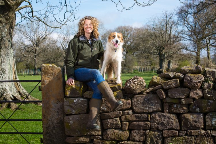 Portrait of TV presenter and farmer Kate Humble on her farm.