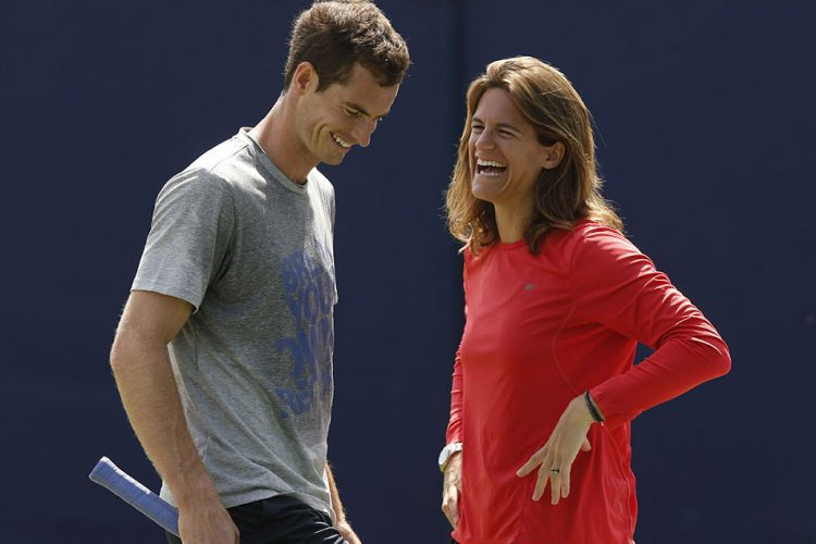 Andy Murray shares a laugh with his new coach Amelie Mauresmo during a training session.