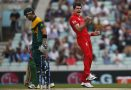 England's James Anderson, right, celebrates the wicket of South Africa's Colin Ingram, left, by lbw during their ICC Champions Trophy semifinal cricket match at the Oval cricket ground in London.