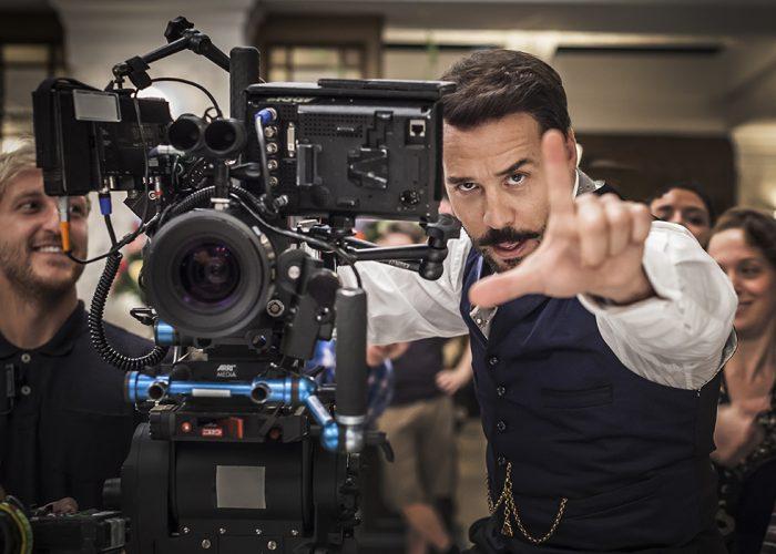 Jeremy Piven Behind scenes shot on 'Mr Selfridge'