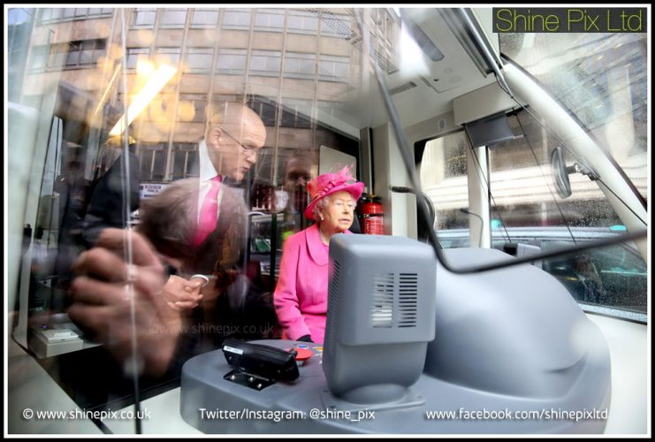HRH The Queen inside the Midland Metro in Birmingham. © Shaun Fellows / Shine Pix Ltd