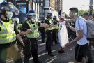 Protestors clash with police at the Unite For Freedom protest on Saturday 29 May 2021 outside Westfield London in Shepherd's Bush, London
