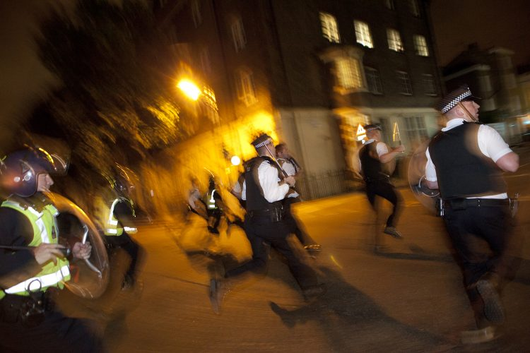 London Riots: Police charge rioters, Camden Town.