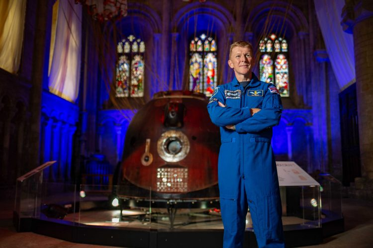 Tim Peakes Spacecraft on Exhibition at Peterborough Cathedral to celebrate 900 Years.