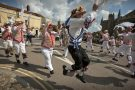 Morris Dancers perform on August Bank Holiday Monday in Thaxted,