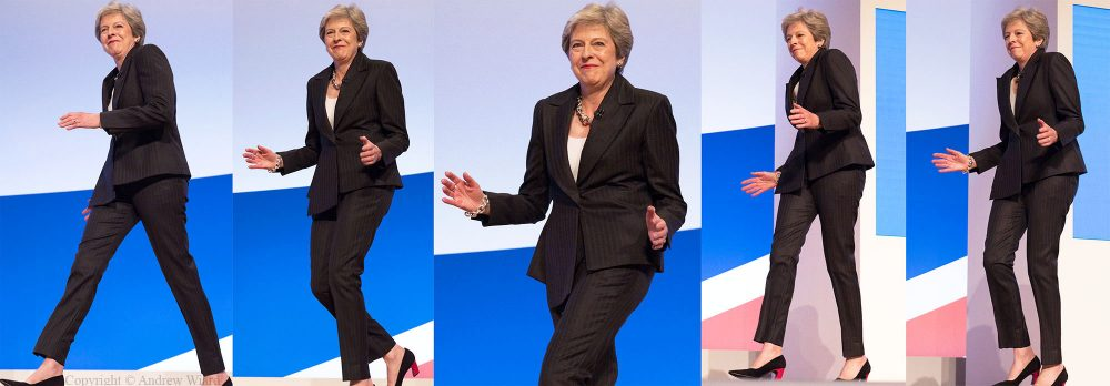 England, UK .3.10.2018. Birmingham . Dancing Queen Theresa May steps out to address the Conservative Party Conference .