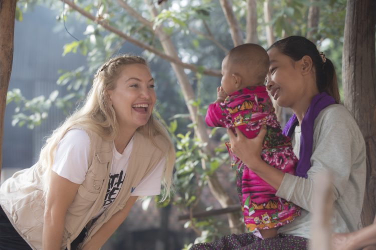 Kate Hudson visits a family in Siem Rep, Cambodia as part of the Make Hunger Stop initiative.