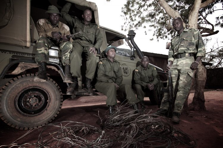 Rangers with seized snares