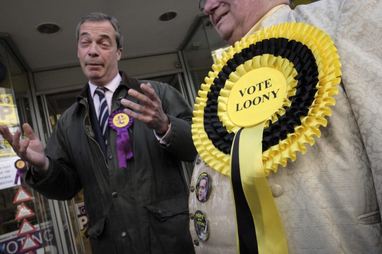 UKIP Nigel Farage on the campaign trail during the 2013 South Shields byelection