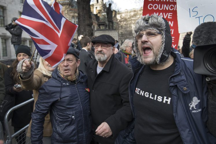 Pro-Brexit demonstrators protest outside the Supreme Court in Westminster. December 5, 2017.