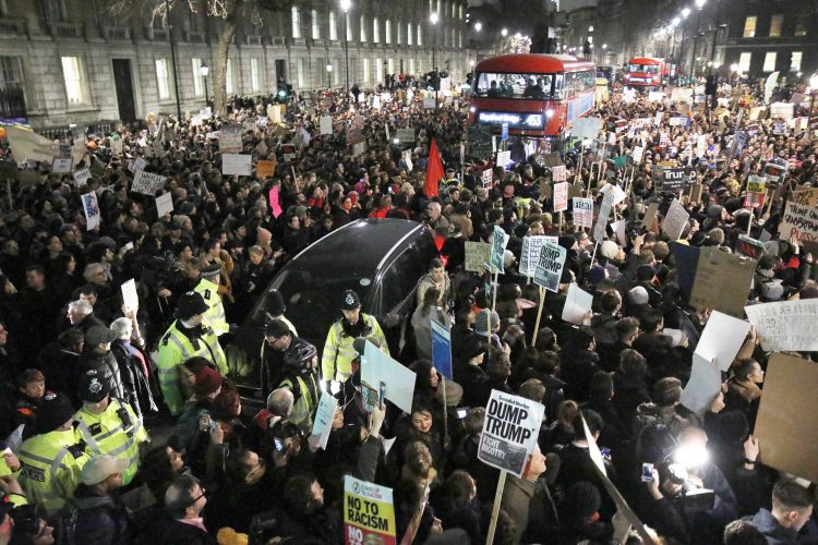 Demonstrators fill Whitehall as they protest against US President Trump's travel ban. January 30, 2017.