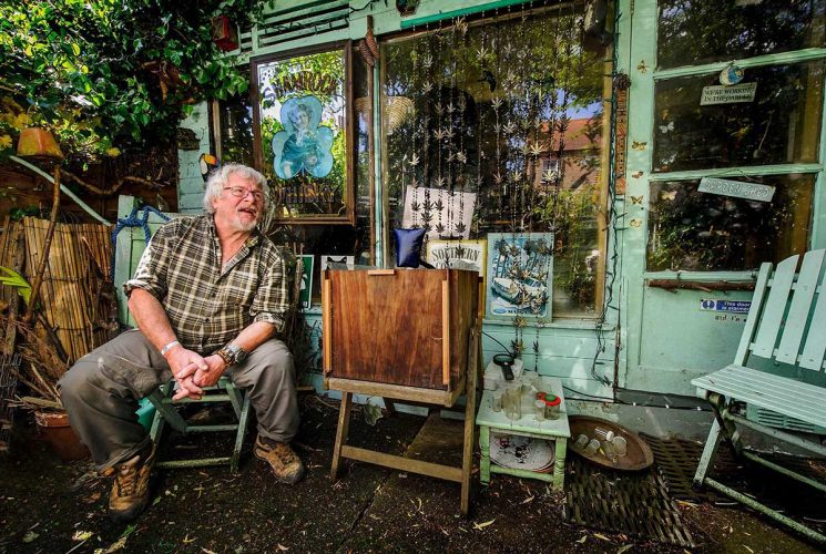 Bill Oddie in his Hampstead garden