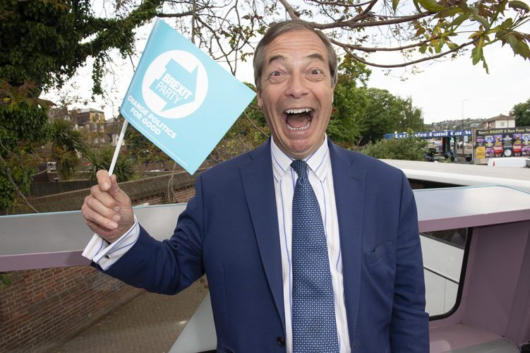 Nigel Farage on his Brexit party campaign bus in Kent, 2019.