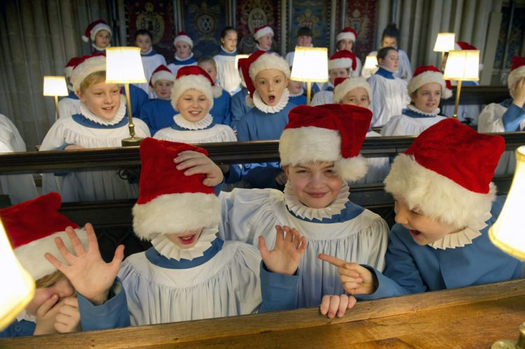 Wells Cathedral choir rehearsing Christmas carols.