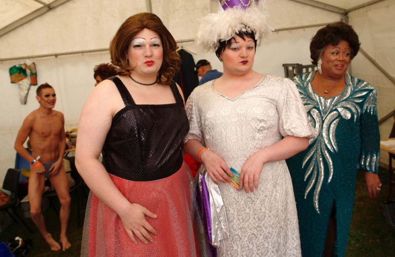 Drag Queens prepare to entertain at the Cardiff Lesbian and Gay Festival