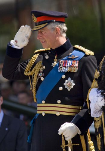 HRH The Prince of Wales takes the salute at the Armed Forces Day in Cardiff.