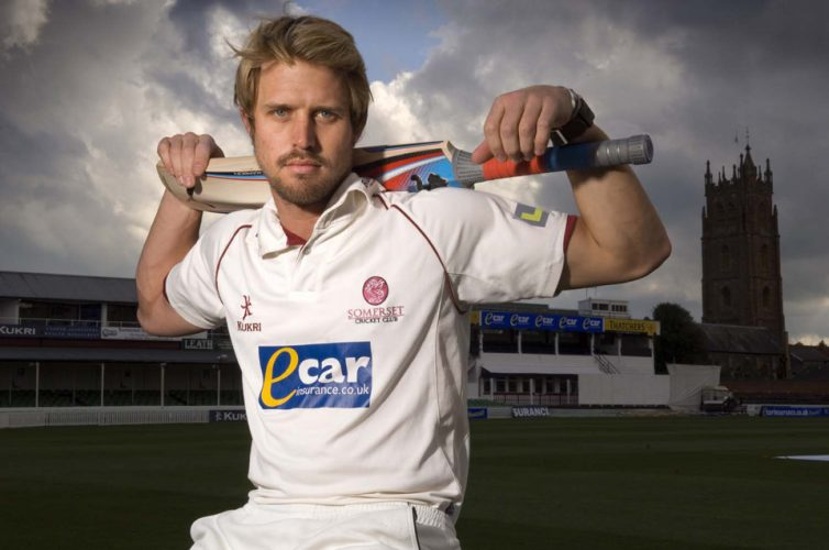 Somerset cricketer Nick Compton, the grandson of  Denis Compton who played for England, photographed at Somerset County Cricket ground at Taunton, Somerset.