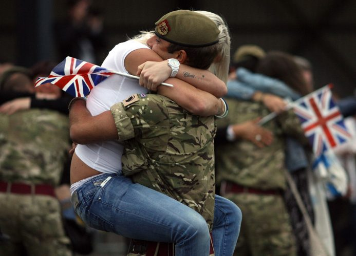 Troops are greeted by their families at Catterick Garrison after returning from a tour in Afghanistan.