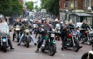 Hundreds of motorcycles gather in the centre of Darlington as part of the funeral cortege for local biker Jungle.