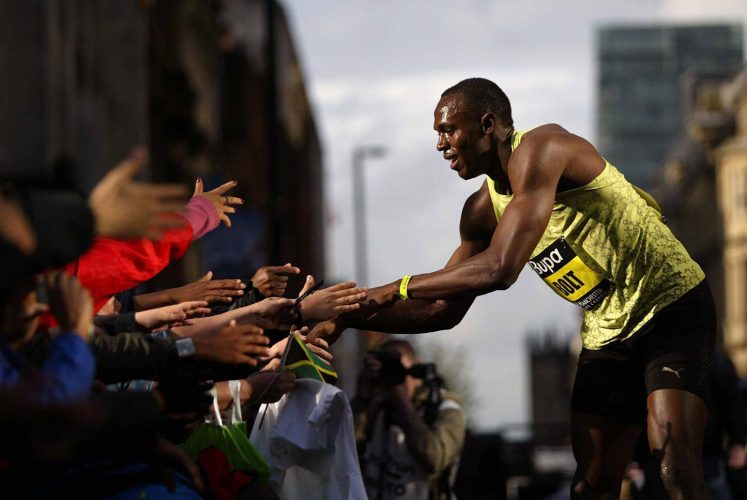 City Games 2009.   Usain Bolt after breaking the 150 metre record.