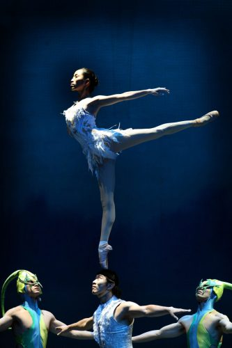 The Chinese Acrobatic Swan Lake in rehearsal at the Lowry Theatre.