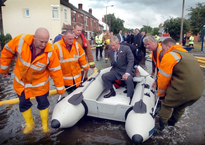 HRH Prince Charles , Prince of Wales , visits the flooded streets of Toll Bar near Doncaster