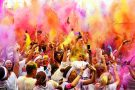 The Color Run. 6000 runners on a 5km course on Madeira Drive, Brighton  2013 based on the Hindu festival of India and Nepal where the runners were covered in paint at each kilometre stage. The event culminated in a mass colour rave  © Terry Applin