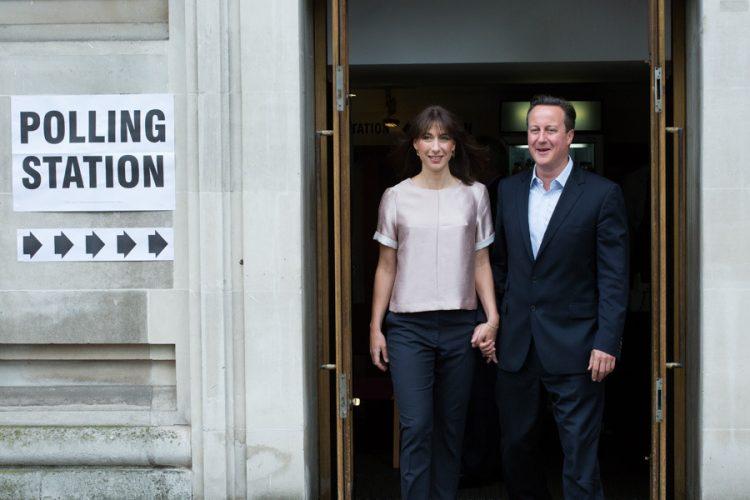 David Cameron and his Wife Samantha Cameron voting this morning