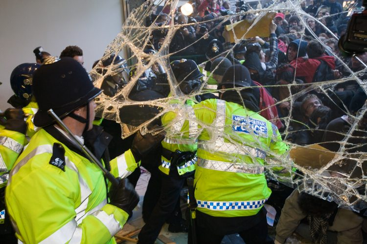 Student demonstration turns to violence